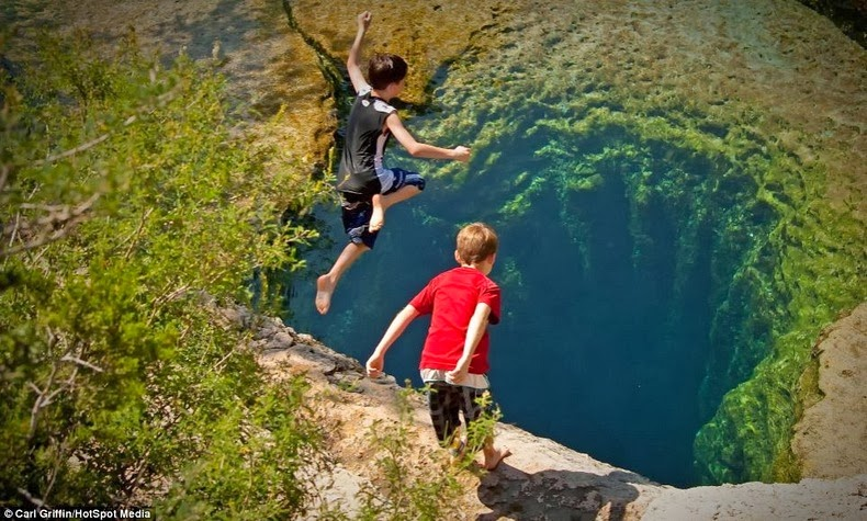 Jumping into Jacob's Well, Texas
